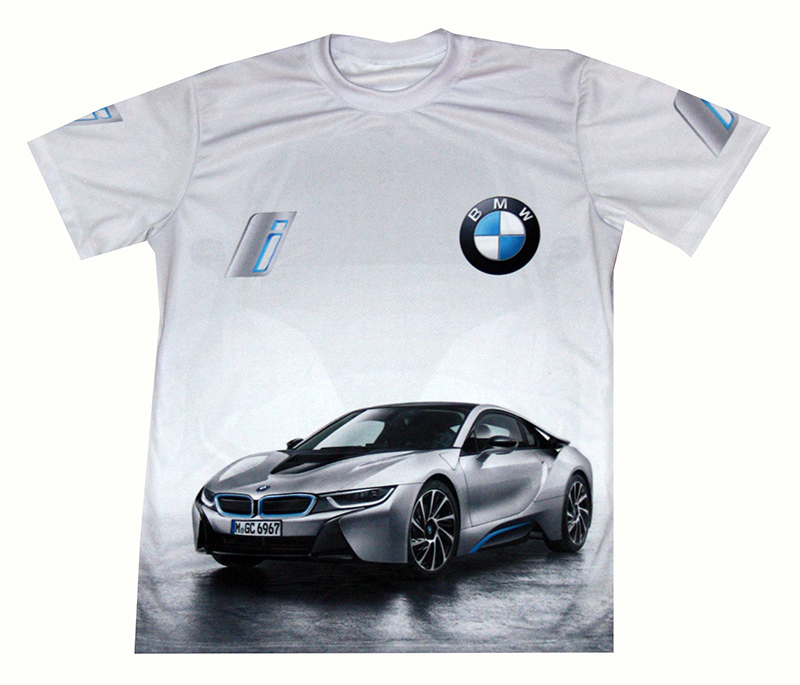 BMW I8 T-shirt With Logo And All-over Printed Picture