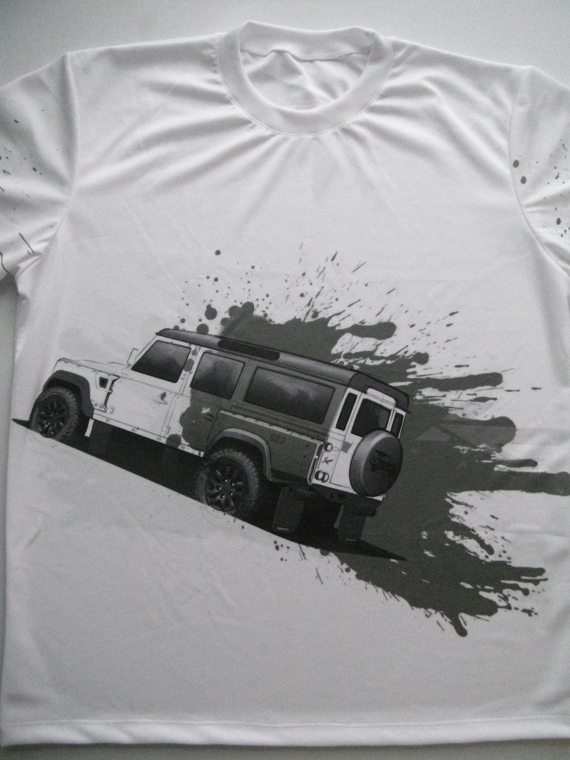 T Shirt With Land Rover Defender Logo And All Over Printed