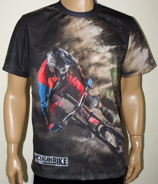 Mountain Bike T Shirt With Logo And All Over Printed Picture T