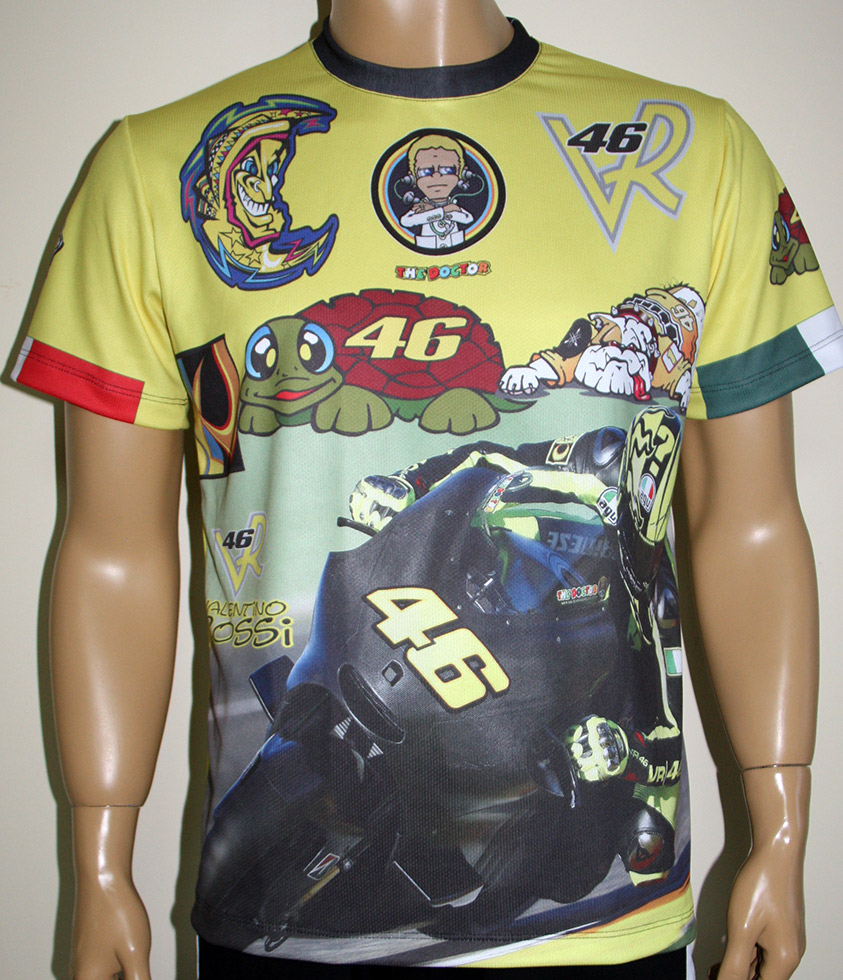 valentino rossi t shirt with logo and all over printed. Black Bedroom Furniture Sets. Home Design Ideas