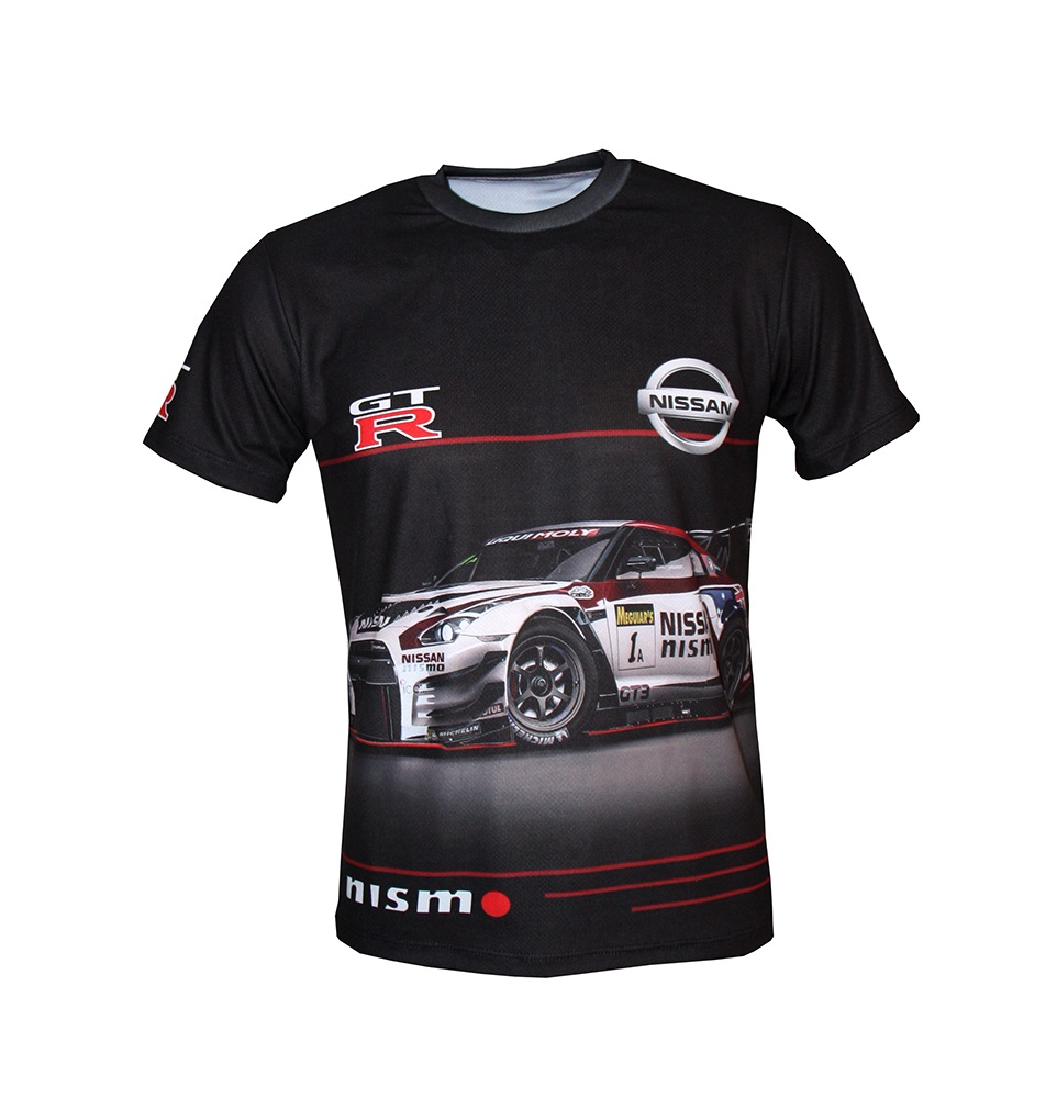 Nissan Gt R T Shirt With Logo And All Over Printed Picture