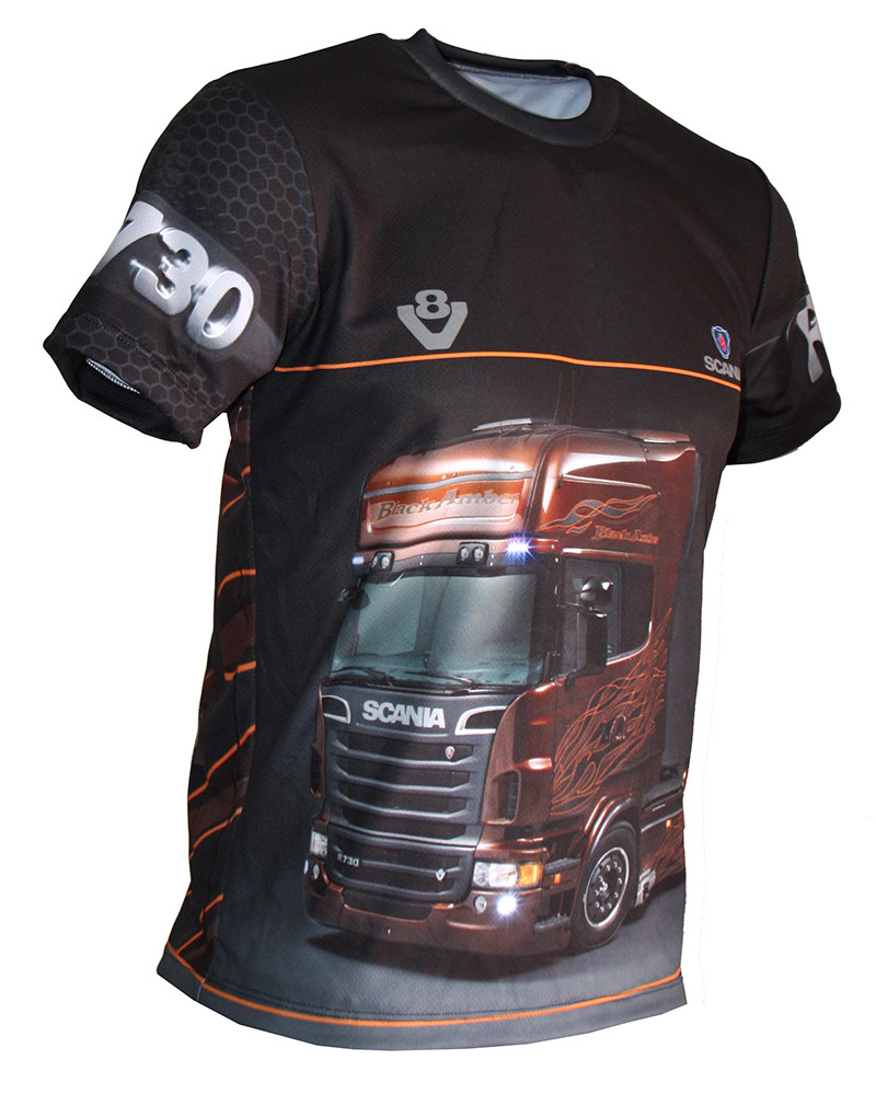 Scania r730 t-shirt with logo and all-over printed picture - T-shirts with all kind of auto ...