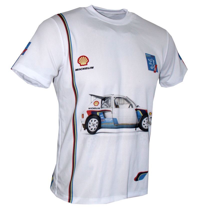 Peugeot 205 T16 T Shirt With Logo And All Over Printed