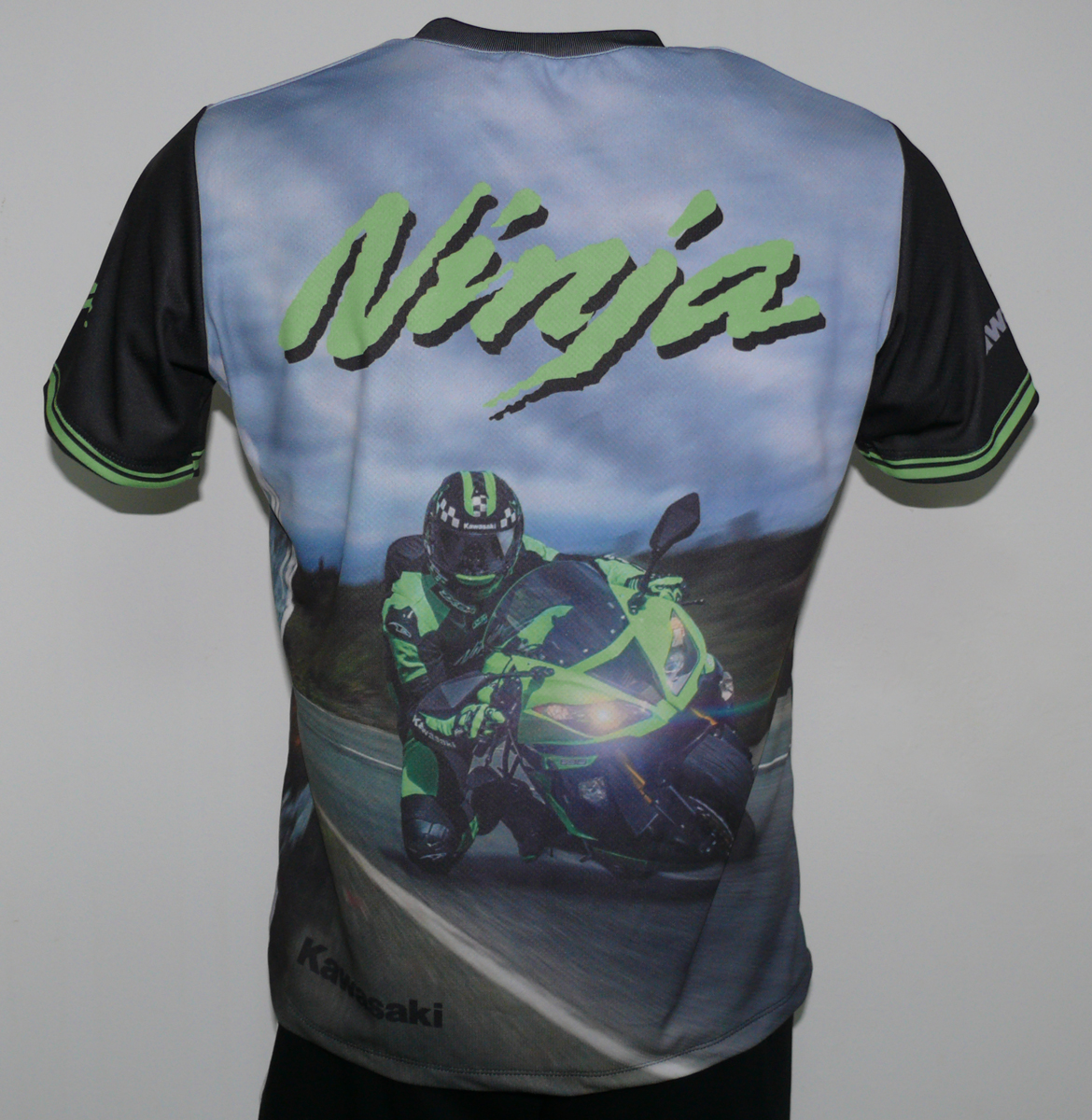 Kawasaki Ninja T Shirt With Logo And All Over Printed Picture T Shirts With All Kind Of Auto