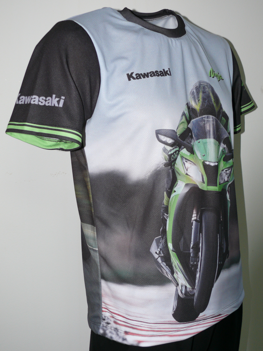 Kawasaki Ninja T Shirt With Logo And All Over Printed