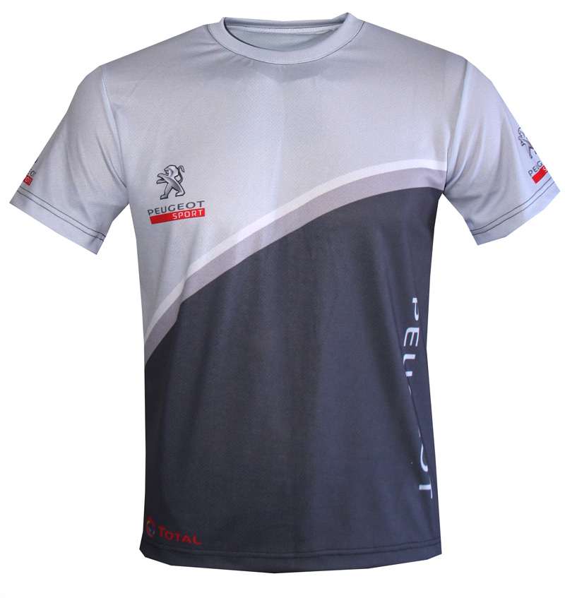 Peugeot t-shirt with logo and all-over printed picture - T-shirts with all kind of auto, moto ...