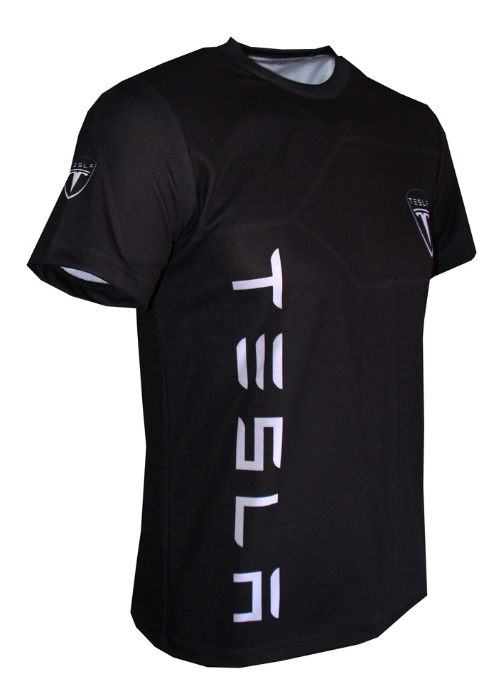 Tesla T Shirt With Logo And All Over Printed Picture T Shirts With All Kind Of Auto Moto