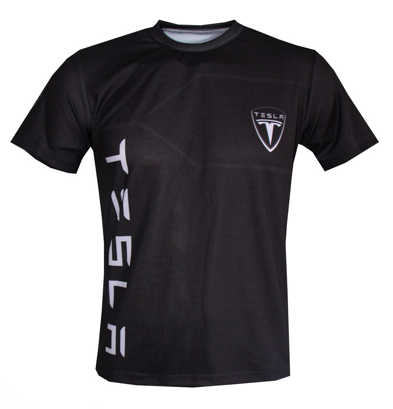 Tesla T Shirt With Logo And All Over Printed Picture T