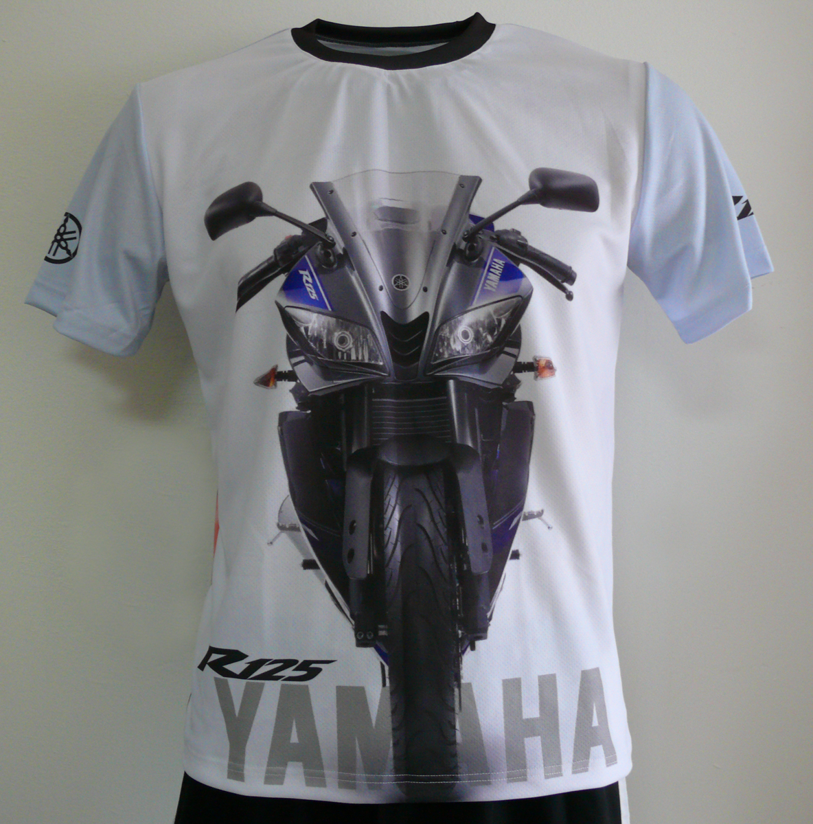 yamaha yzf r125 t shirt with logo and all over printed. Black Bedroom Furniture Sets. Home Design Ideas