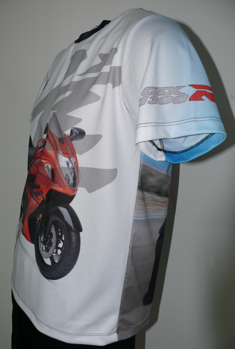 Suzuki Hayabusa T Shirt With Logo And All Over Printed Picture T Shirts With All Kind Of Auto
