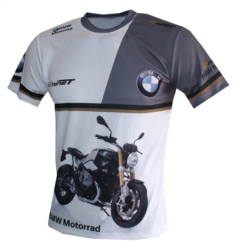 Bmw R Ninet T Shirt With Logo And All Over Printed Picture