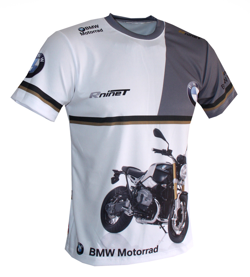 bmw r ninet t shirt with logo and all over printed picture. Black Bedroom Furniture Sets. Home Design Ideas