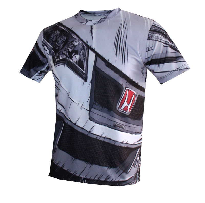 Honda T Shirt With Logo And All Over Printed Picture T
