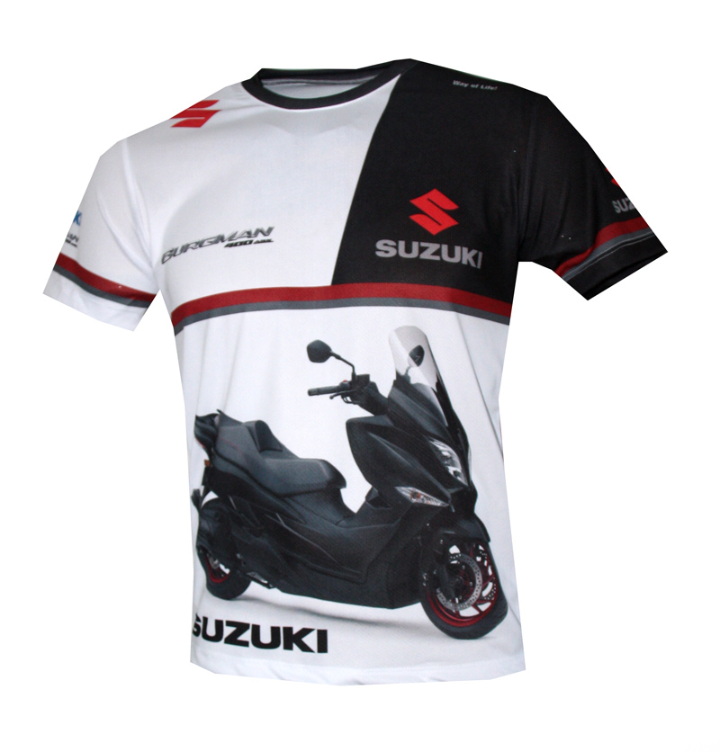 suzuki burgman t shirt with logo and all over printed. Black Bedroom Furniture Sets. Home Design Ideas