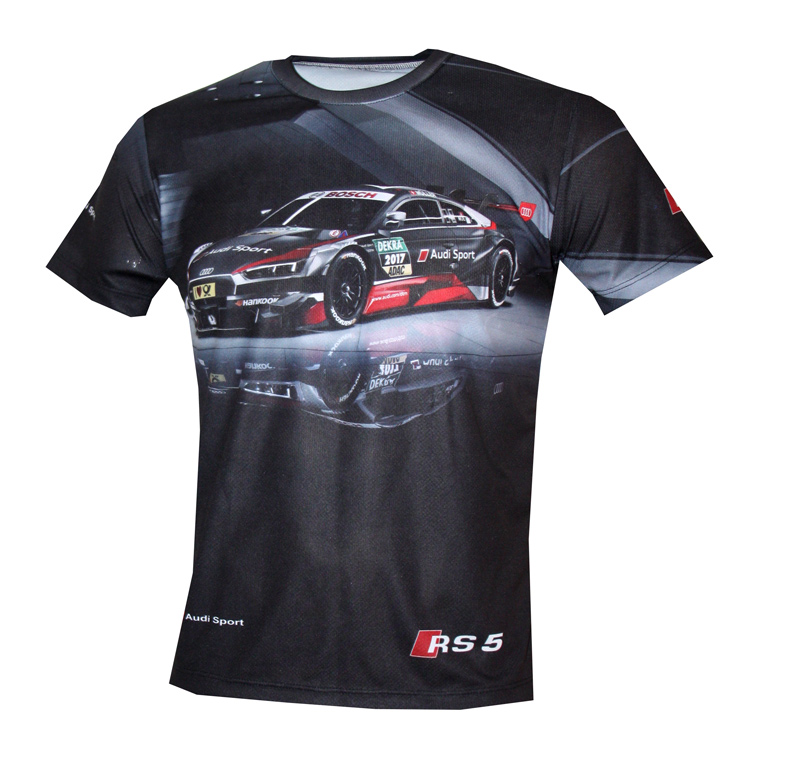 Audi Rs5 T Shirt With Logo And All Over Printed Picture T Shirts With All Kind Of Auto Moto