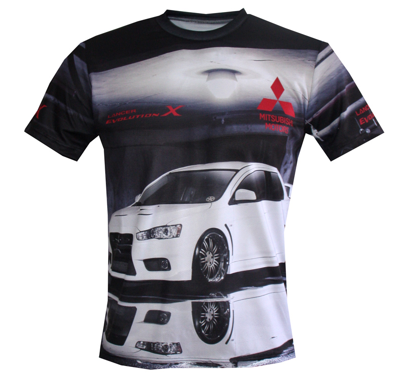 Mitsubishi T Shirt With Logo And All Over Printed Picture