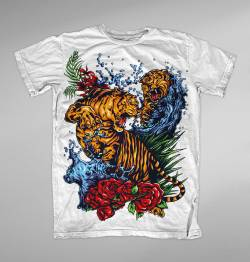 chinese tattoo tigers fight color t shirt
