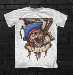 pirate caribbean skull color t shirt