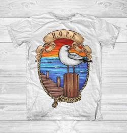 port harbor seagull sea t shirt