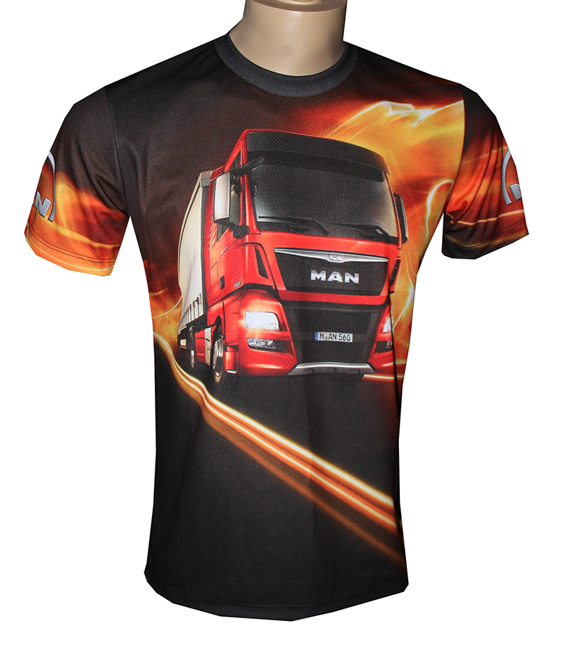Man T Shirt With Logo And All Over Printed Picture T