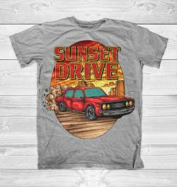 sunset drive boulevard fast cars cool shirt
