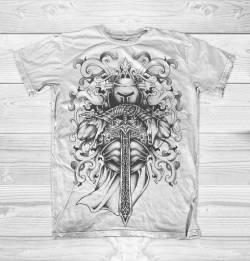 knight armor art graphic tattoo tee