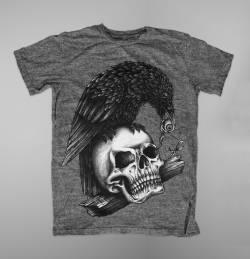 skull crow death art design t shirt
