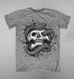 skull snake illustration tattoo design shirt