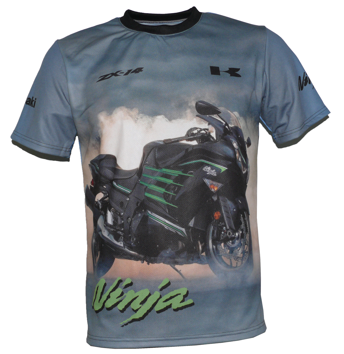 Kawasaki Zx 14r T Shirt With Logo And All Over Printed Picture T