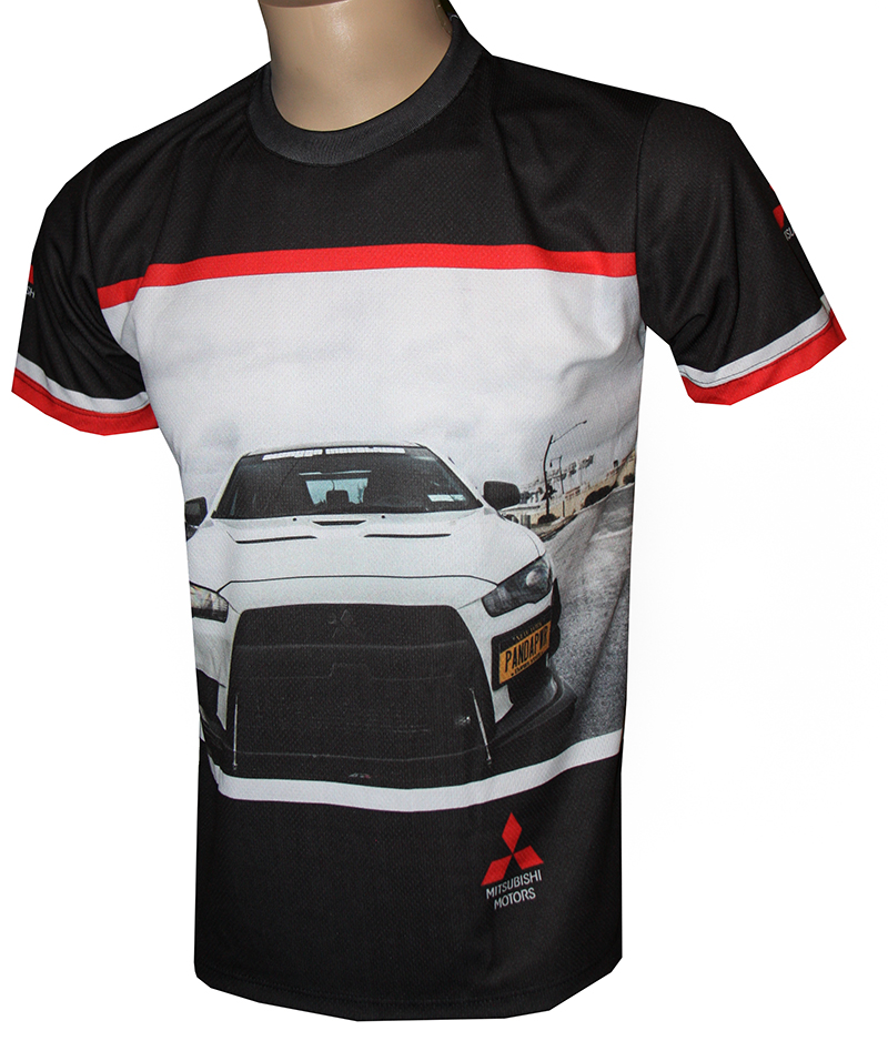 Mitsubishi t shirt with logo and all over printed picture for Warson motors t shirt