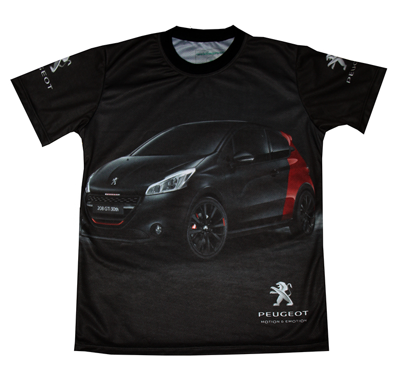 peugeot 208 gti t shirt with logo and all over printed. Black Bedroom Furniture Sets. Home Design Ideas
