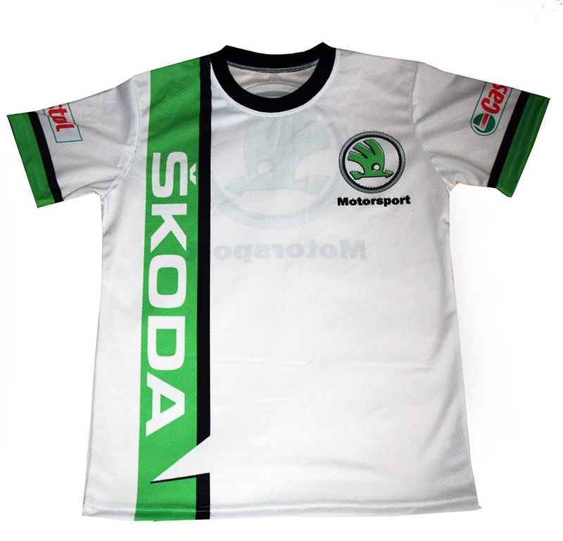 Skoda t-shirt with logo and all-over printed picture - T-shirts with all kind of auto, moto ...