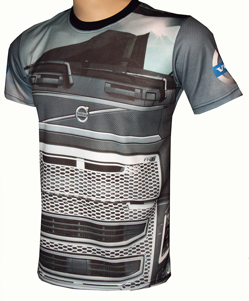 Volvo T Shirt With Logo And All Over Printed Picture T