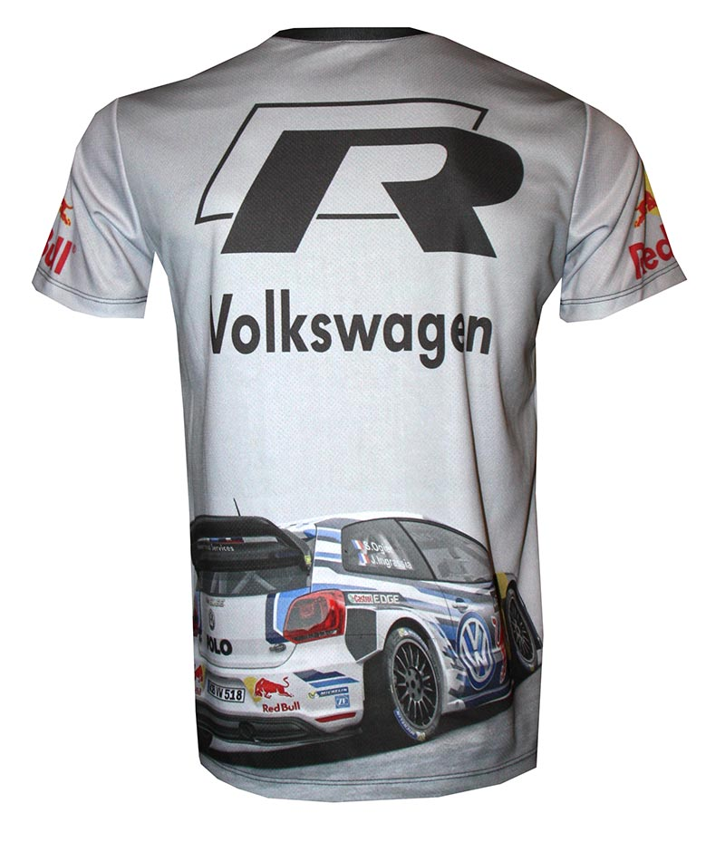vw polo wrc t shirt with logo and all over printed picture. Black Bedroom Furniture Sets. Home Design Ideas