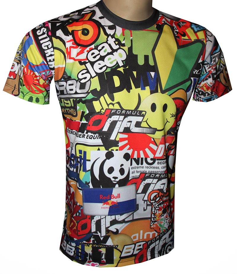 Colorful t-shirt with logo and all-over printed picture - T-shirts with all kind of auto, moto ...