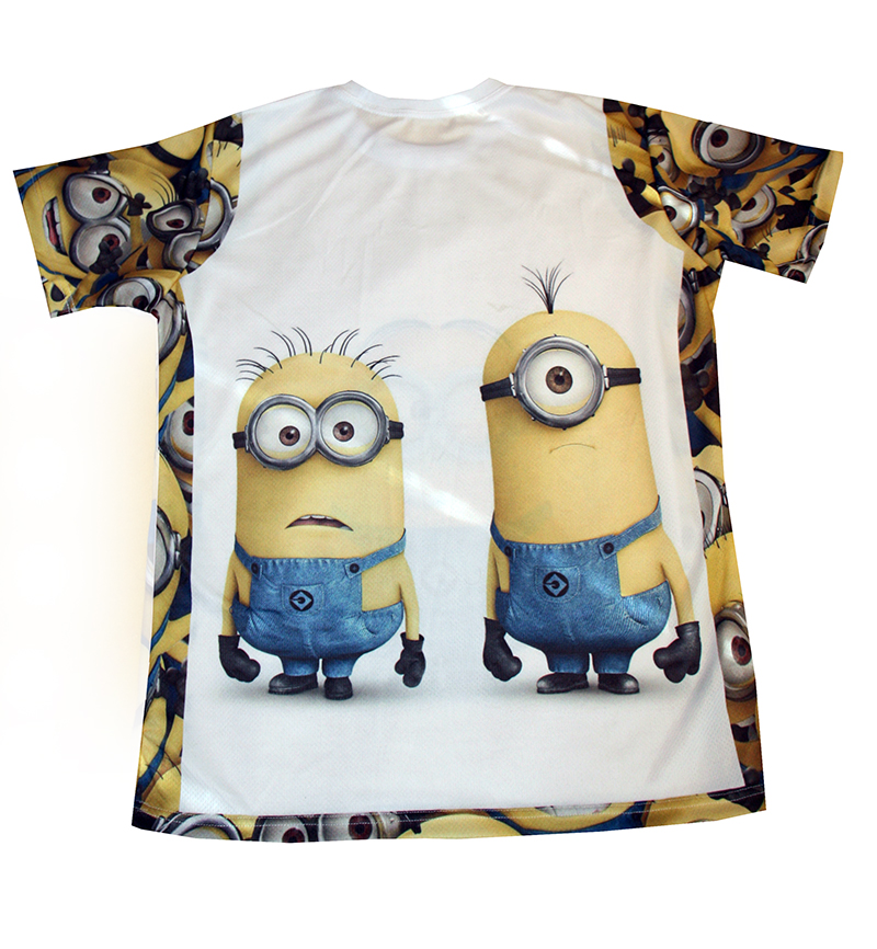 the minions t shirt with logo and all over printed picture. Black Bedroom Furniture Sets. Home Design Ideas